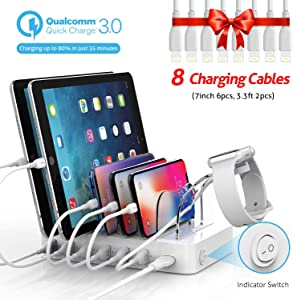 Soopii Quick Charge 60W/12A 6-Port USB Charging Station for Multiple Devices, 8pcs Charging Cables Compatible with Apple Devices, I Watch Charger Holder,for Phones, Tablets,and Other Electronics