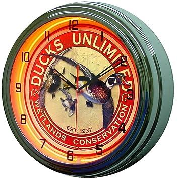 Ducks Unlimited 15 Quot Neon Lighted Wall Clock Metal Sign Orange