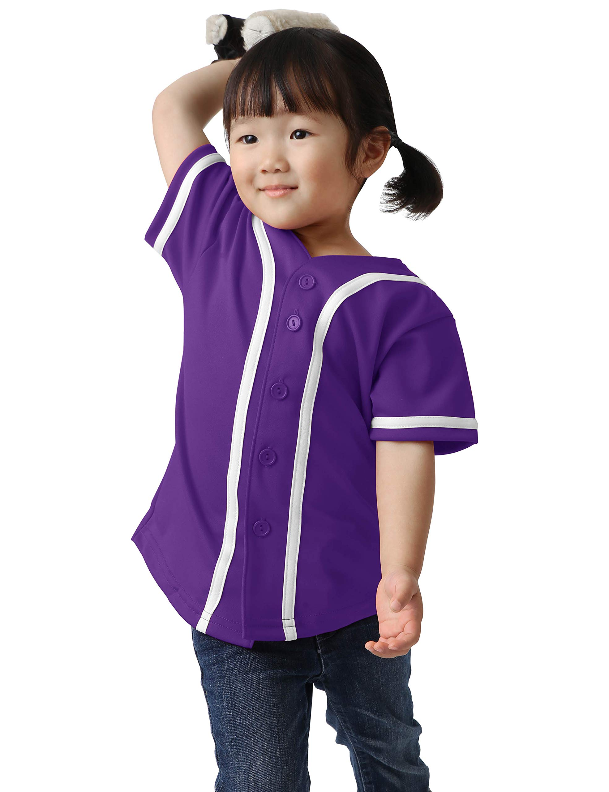 Ma Croix Kids Premium Baseball Jersey Active Button Shirt Team Uniform Little League (3 Toddler, 5up01_pur.WHI) by Ma Croix