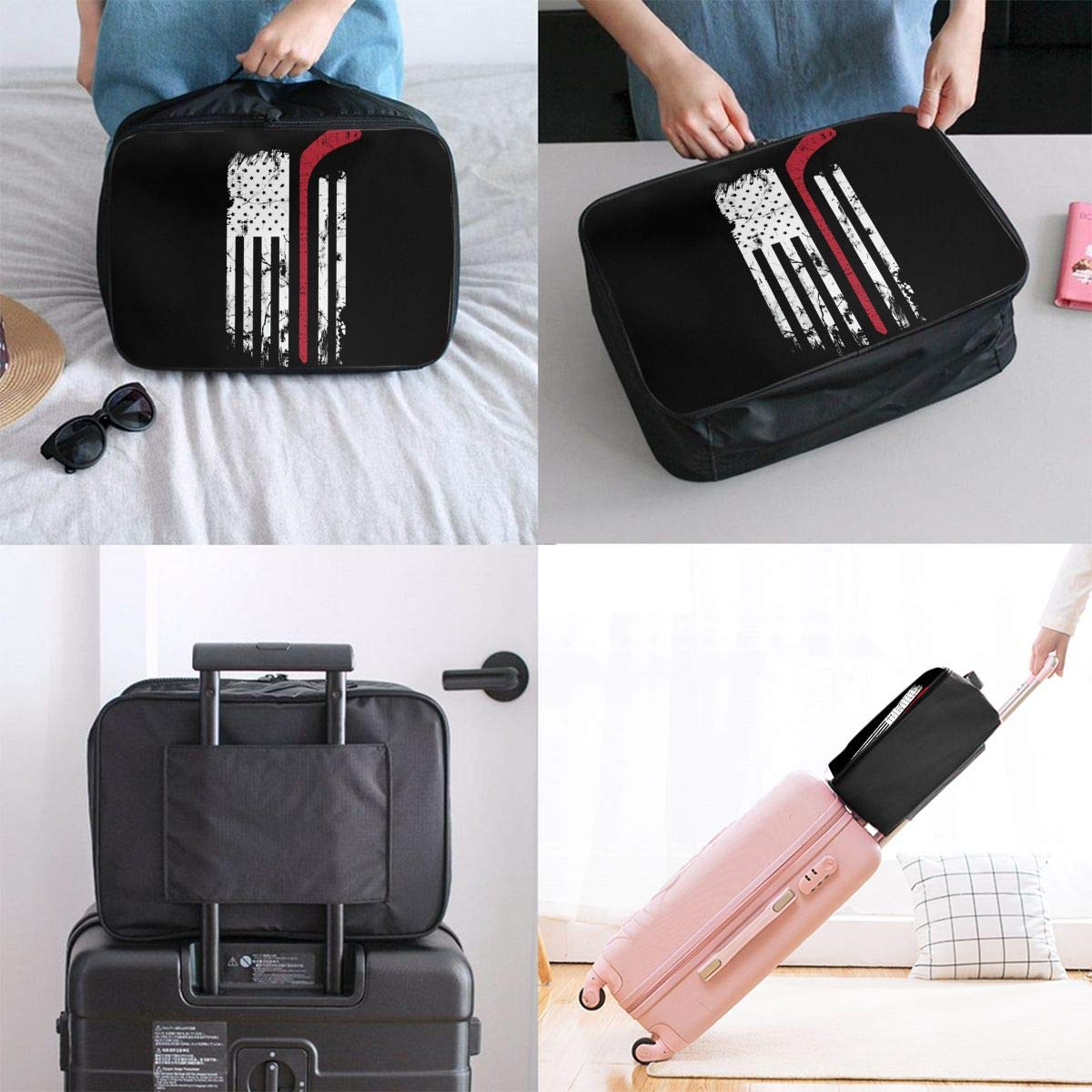 YueLJB Hocky Red Line Flag Lightweight Large Capacity Portable Luggage Bag Travel Duffel Bag Storage Carry Luggage Duffle Tote Bag