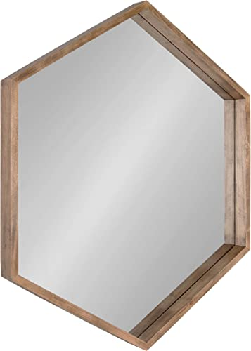 Kate and Laurel Hutton Hexagon Mirror, 29.5 x 33.5 , Natural, Mid-Century Modern Mirror for Geometric Decor