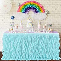 Leegleri Tulle Curly Willow Table Skirt Ruffle Tutu Table Skirt for Rectangle Table or Round Table,Mermaid Table Skirt for Baby Shower,Birthday Party (Aqua,L 6(ft) H 30in)