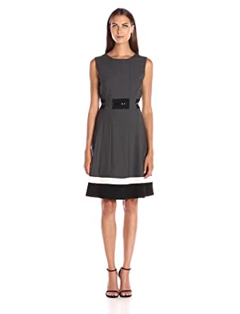 df28d590ccf Calvin Klein Women s Fit-And-Flare Color-Block Dress at Amazon ...
