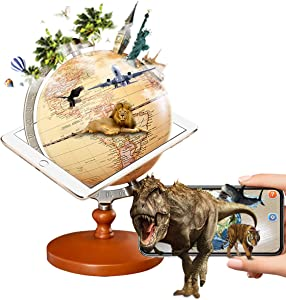 FUN GLOBE 3 in 1 LED AR World Globe Desktop Decoration Geographic Interactive Earth Globes for Kids & Adults for Educational Toys/Office Supplies/Indoor Decorations/Holiday Gift (Retro, 5 Inches)