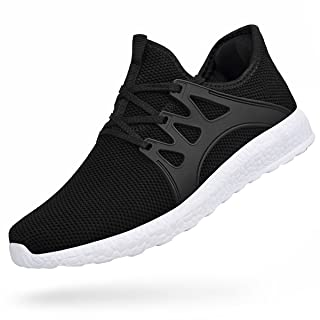 Feetmat Mens Athletic Shoes Non Slip Tennis Workout Shoes Wide Slip On Mesh Gym Running Sneakersblack White 12.5