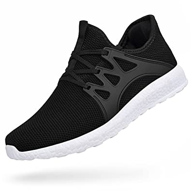 0350b4d7c0d43a Feetmat Mens Tennis Shoes Mesh Non Slip Casual Gym Athletic Walking Shoes  Black White 6.5 D