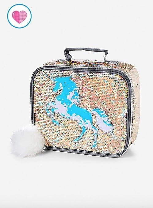 3b6dc89fc5 Amazon.com  Justice Lunch Tote Bag Flip Sequin Gold Unicorn  Toys   Games