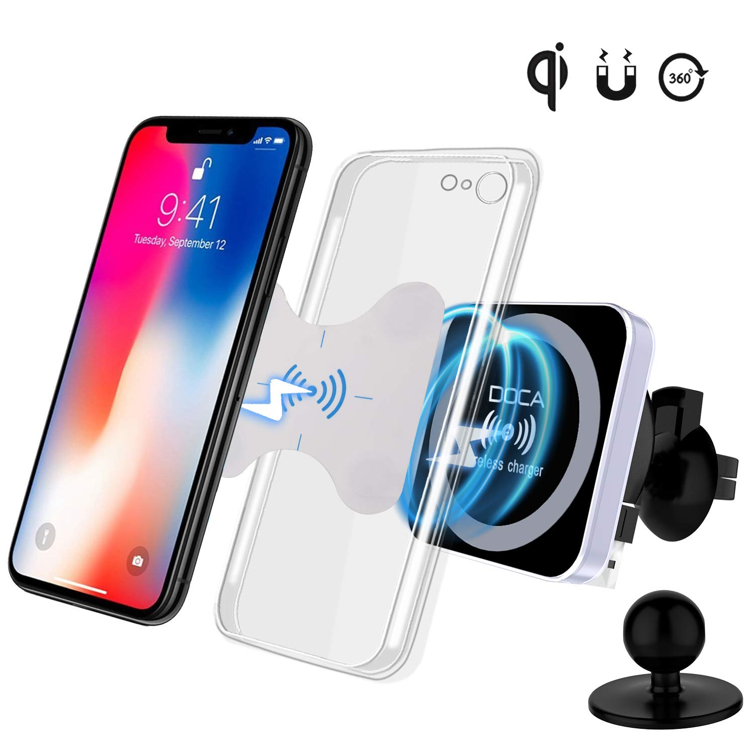 DOCA Magnetic Wireless Car Charger, QI Wireless Car Charger Air Vent Mount Holder for Samsung Galaxy Note 8 S8/S8 Plus S7 Edge, iOS,Android & All QI Enabled Devices