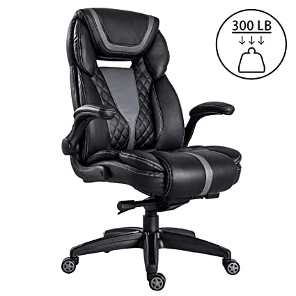 best service 4a682 5b604 LCH High Back Executive Office Chair 300 Lbs for Big Man, Pu Leather Flip  Up Arms Adjustable Tilt Angle Comfortable Ergonomic Padding Headrest Lumbar  ...