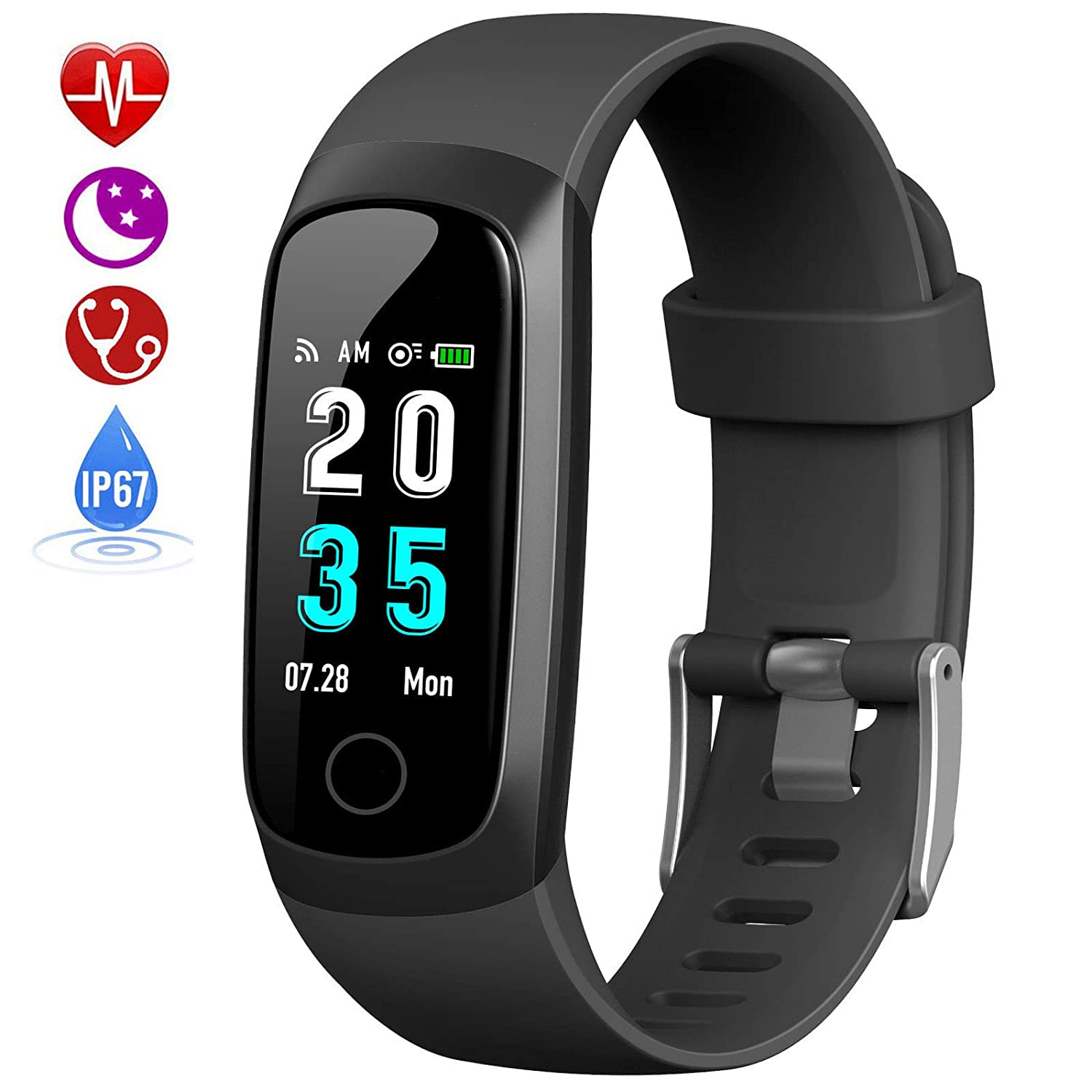 HETP Fitness Tracker, Heart Rate Activity Tracker Fitness Wristband Smart  Watch Waterproof IP67 Blood Pressure Smart Bracelet with Stopwatch Sport  GPS