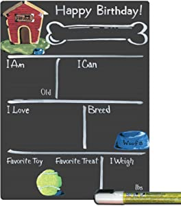 Cohas Birthday Milestone Board for Dogs with Basic Theme and Reusable Chalkboard Style Surface, 9 by 12 Inches, White Marker