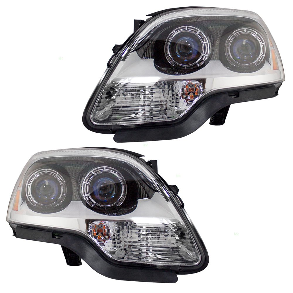 Aftermarket Replacement Driver and Passenger Set Halogen Headlights with Blue Lens Compatible with 2007-2012 Acadia 25826765 25826764