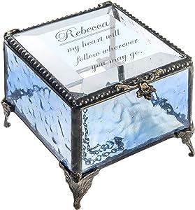 Personalized Blue Glass Box Decorative Vanity Display Case Storage Jewelry Organizer Keepsake Gift for Friend Daughter Sister Girl Women Vintage Decor J Devlin Box 837 EB246