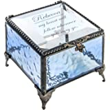 Personalized Blue Glass Box Decorative Vanity Display Case Storage Jewelry Organizer Keepsake Gift for Friend Daughter Sister