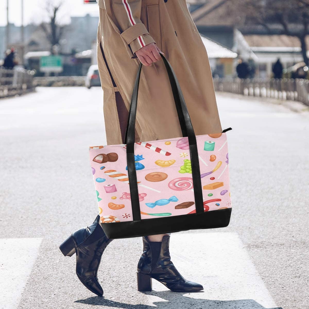 Cartoon Sweet Candy Snack Canvas Shoulder Tote Bag Fit 15.6 Inch Computer Ladies Briefcase for Work School Shopping Outdoor Activities Large Woman Laptop Tote Bag