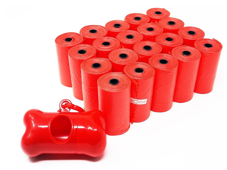 SBS Poop Bags Lot de 300sacs à déjections canines I + 1x distributeur en forme d'os I Sac Extra Large, ultra épais et anti-fuite I 20é nachfüllr chacun avec 15sacs par rouleau
