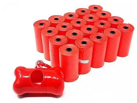 Bolsas SBS® Poop, 300 unidades, para desechos de perros, incluye 1 dispensador en forma de hueso, bolsas grandes, gruesas y antigoteo, 20 rollos de ...