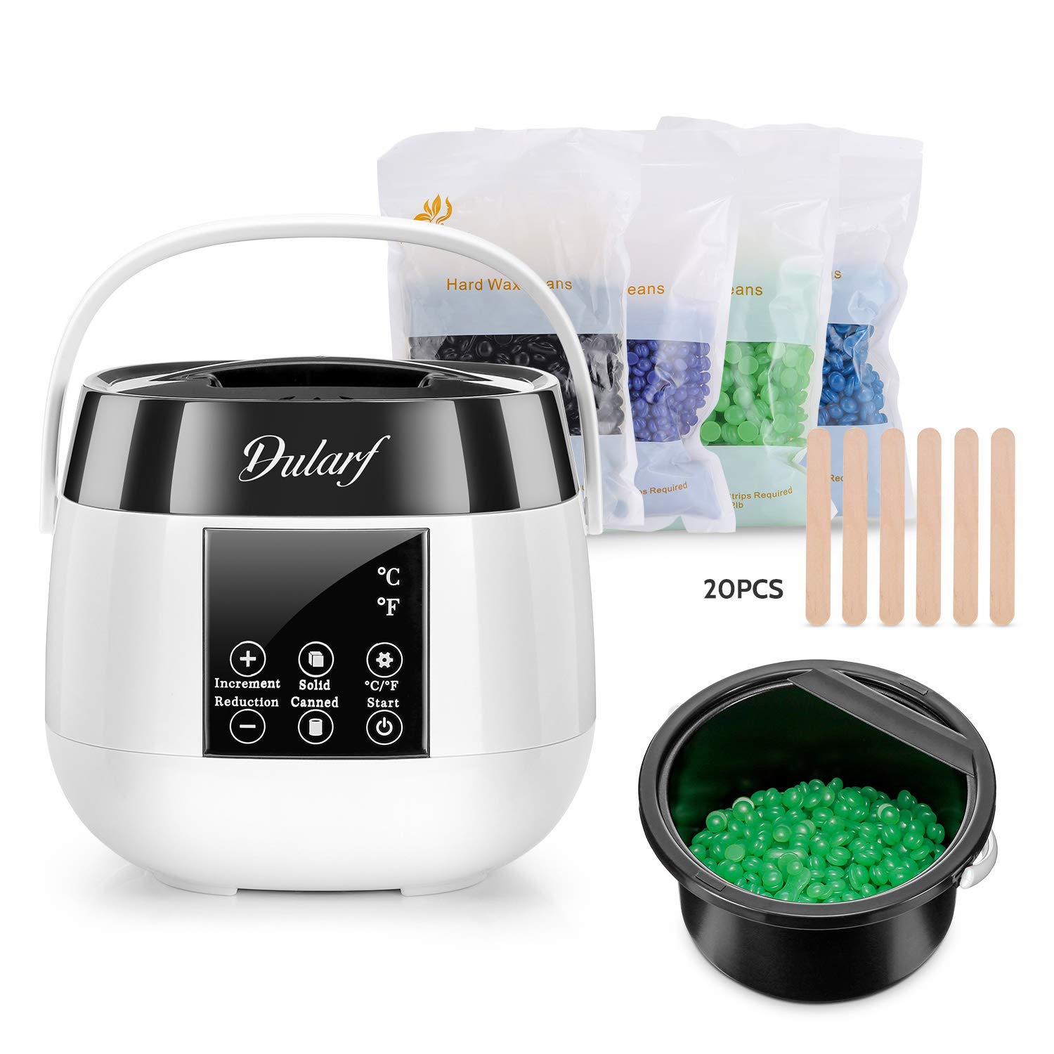 Dularf Water Flosser Cordless Oral Irrigator Rechargeable Dental Flossers IPX7 Waterproof Teeth Cleaner with LCD Display, 3 Modes & 5 Tips and Storage Box, and Travel Storage Bag (Black)