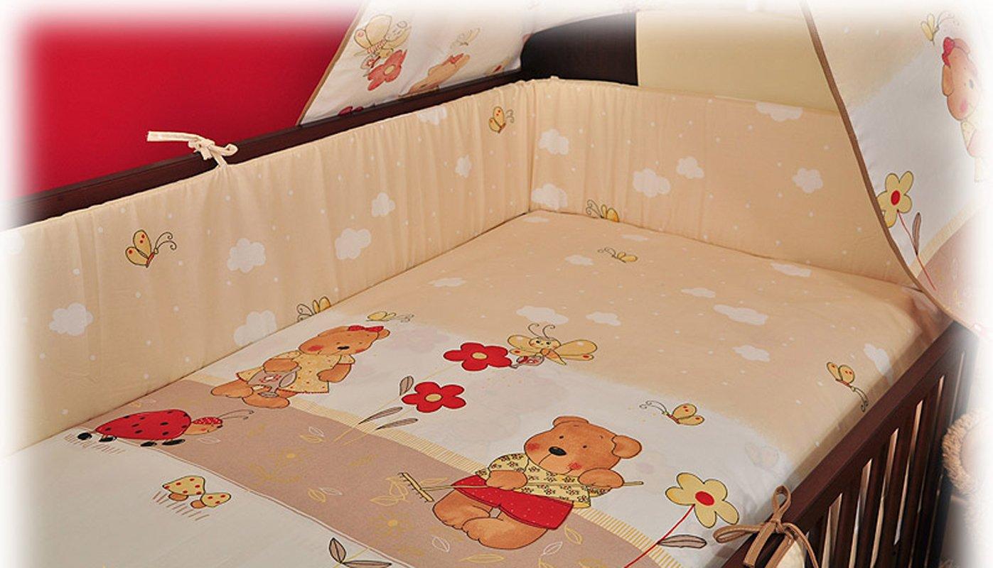 BlueberryShop 2 pcs BABY COT BED BUNDLE BEDDING SET DUVET+PILLOW COVERS matching cot bed 120 x 150 cm (47'' x 59'') ( 0-7Yrs ) ( 150 x 120 cm ) Cream Bear