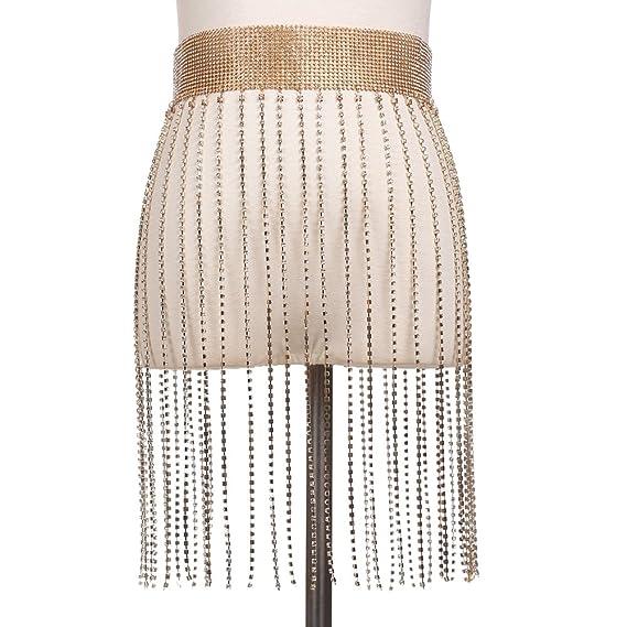 3fd583a80dd iShine Femme Chaîne de Taille avec Frange par Strass Brillant Sexy  Accessoire pour Bikini Plage Fête