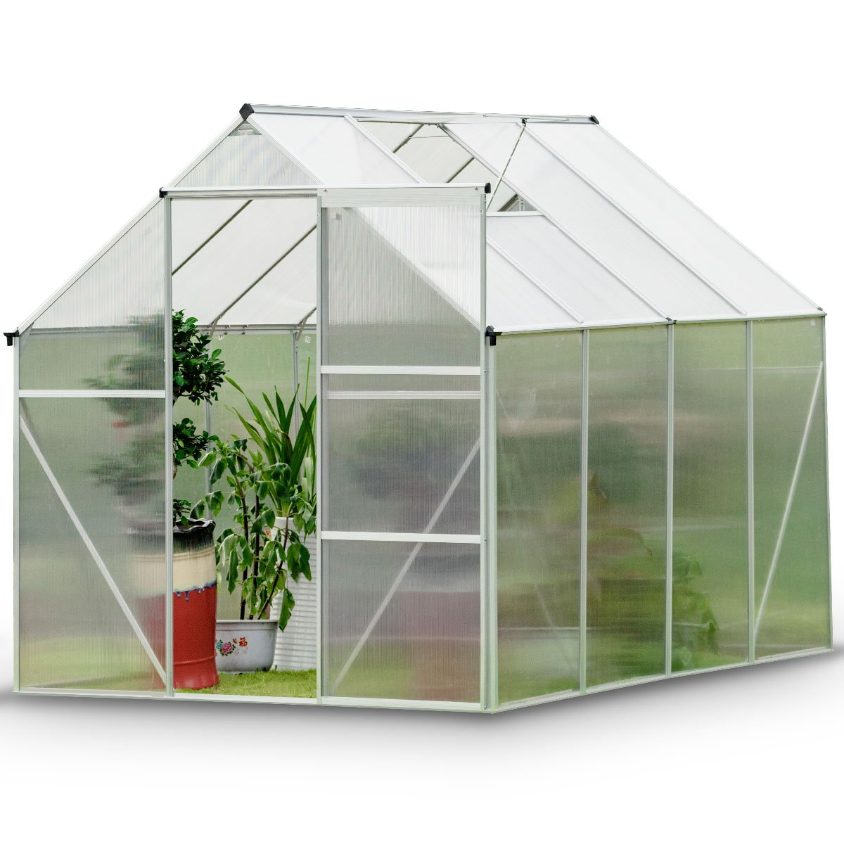 Giantex Walk-in Greenhouse Plant Growing Tent Large Green Garden Hot House with Adjustable Roof Vent, Rain Gutters Heavy Duty Polycarbonate Aluminum Frame (6.2'L x 8.2'D) by Giantex (Image #1)