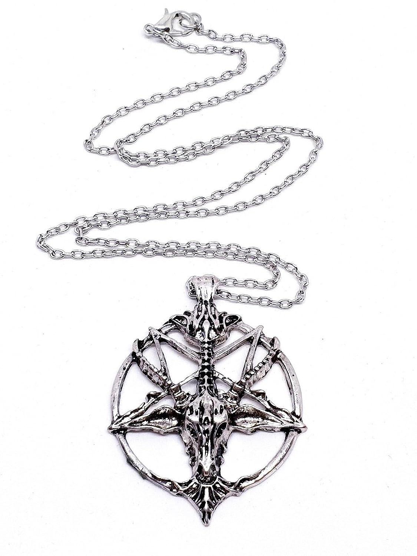 UK Baphomet Inverted Pentagram Goat Head Pendant Necklace Satanism Occult