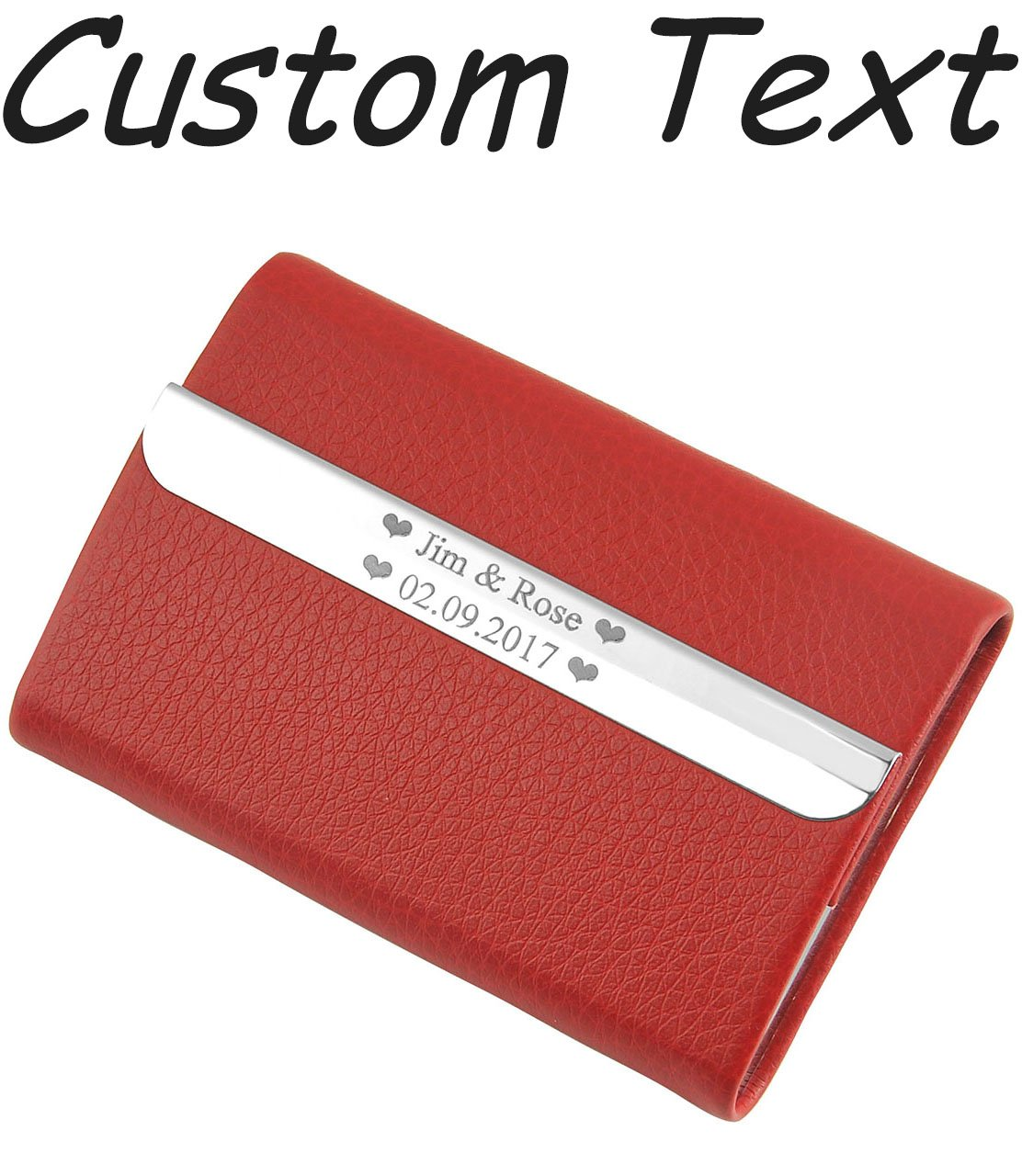 Ayliss Custom Engraved Personalized Text Stainless Steel Leather Card Holder with Magnetic Shut,Red-customed