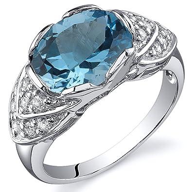 Revoni 14ct White Gold Swiss Blue Topaz Diamond Ring 2.75 Carat Oval Cut Qgn8a