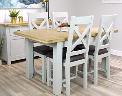 arklow light grey painted oak small extending dining table set 120 rh amazon co uk