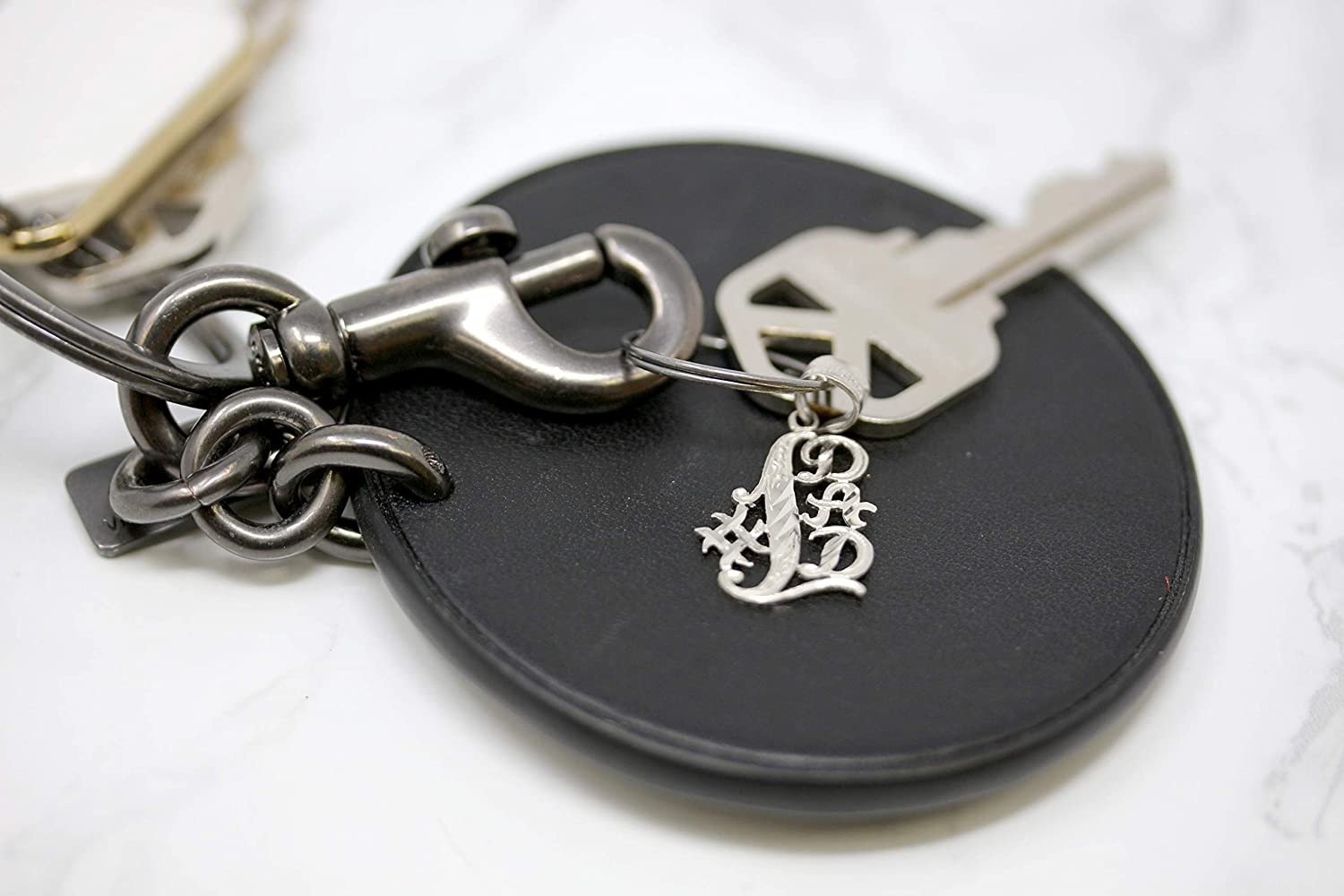 CaliRoseJewelry 10k #1 Dad Best Dad Handmade Keychain Charm Pendant Necklace for Father