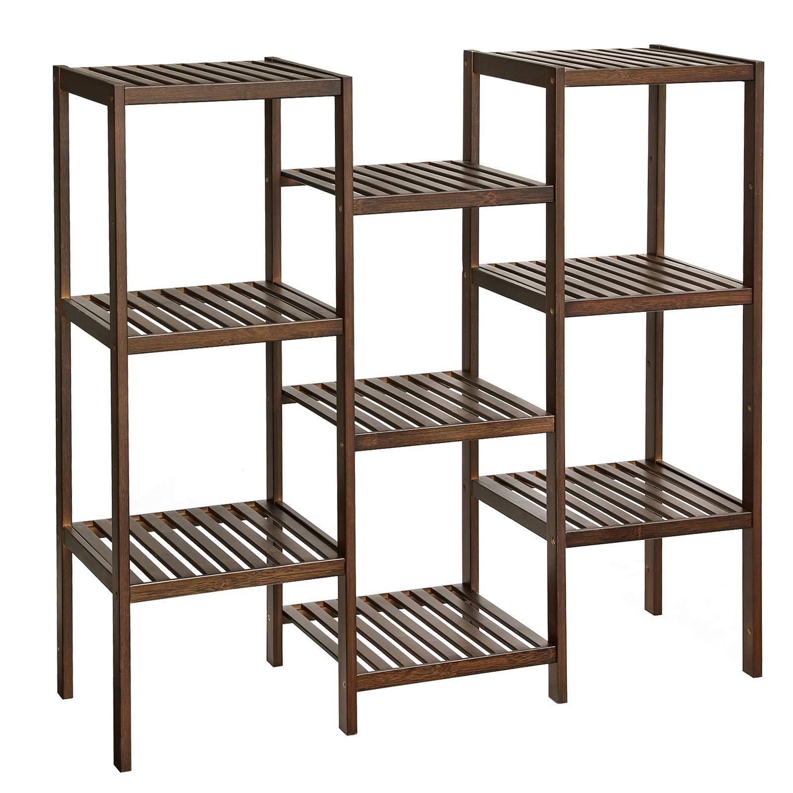 SONGMICS Bamboo Plant Stand, Bathroom Storage Rack, Customizable Flower Pots Holder, Multi-Purpose Display Rack, for Living Room, Balcony, Walnut Color UBCB93WL by SONGMICS