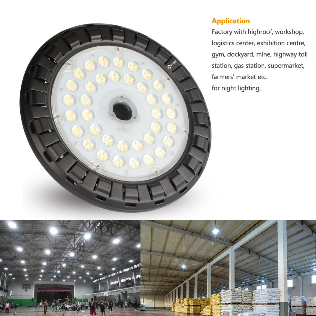 Anten 100W UFO LED High Bay Light Natural-White (4250K) with Mount Bracket, 14000Lm IP65 Waterproof Ultra Efficient, Indoor/ Outdoor Super Bright Commercial Lighting by Anten (Image #2)