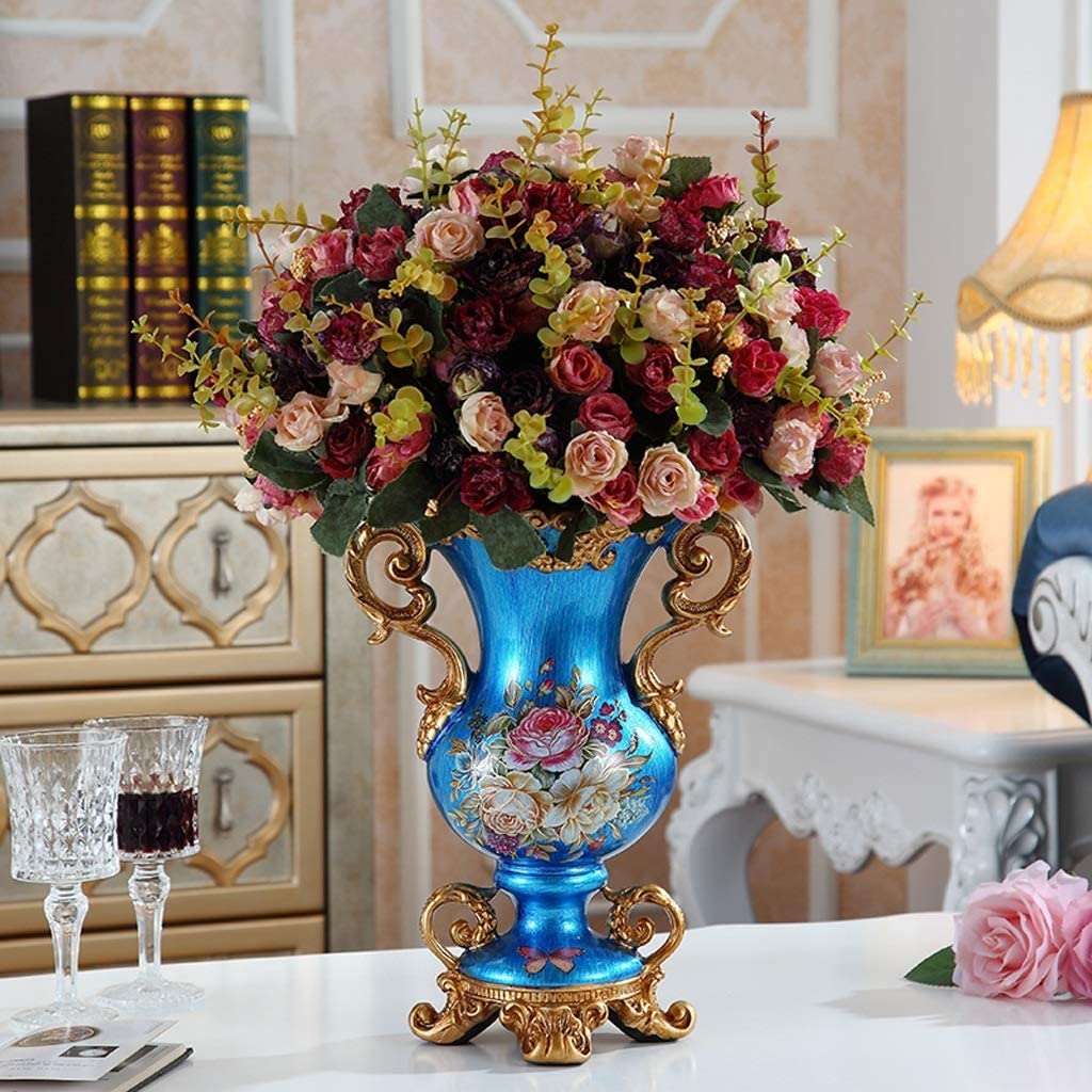 Amazon Com Czx European Style Retro Resin Large Flower Vases Decor Vases For Living Room Kitchen Above Cabinets Bedroom Bathroom Table Centerpiece Hand Painted Tall Decorative Vase Home Kitchen