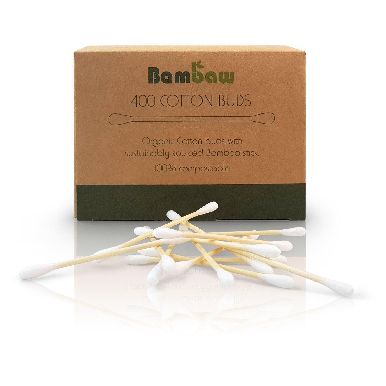 Bambus Wattestäbchen   Wattestäbchen aus Holz   Biologisch abbaubare & nachhaltige Q-Tips   Umweltfreundliche Verpackung   Pflegestäbchen mit Baumwolle   Bambaw … (400)