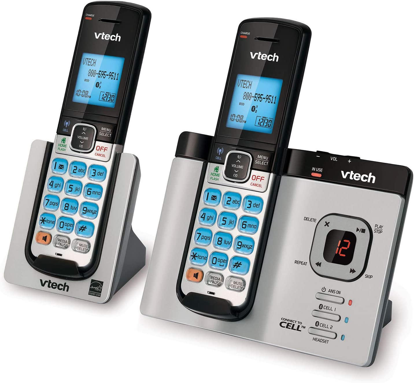 VTech DS6621-2 DECT 6.0 Expandable Cordless Phone with Bluetooth Connect to Cell and Answering System, Silver/Black with 2 Handsets : Electronics
