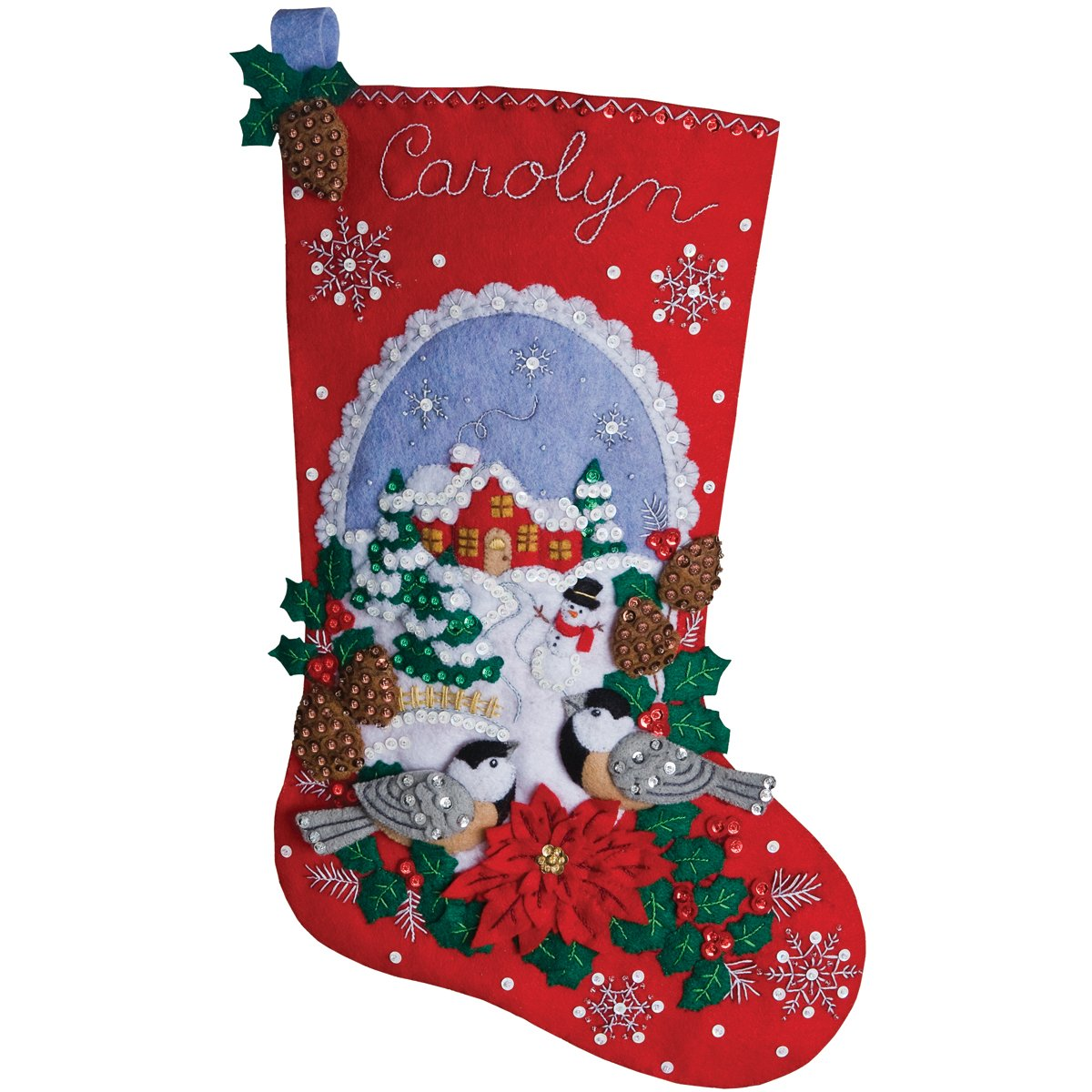 Bucilla 18-Inch Christmas Stocking Felt Applique Kit, 86326 Chickadees Plaid Inc