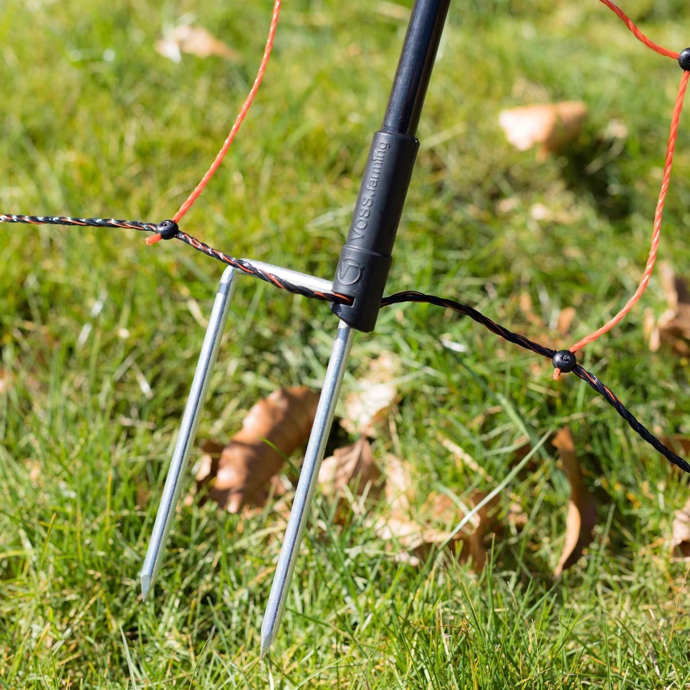hochwertiger Fiberglaspfahl f/ür den Weidezaun Ersatzpfahl f/ür Elektrozaunnetz 2 Spitzen schwarz VOSS.farming NETmaster Zusatzpfahl 90cm