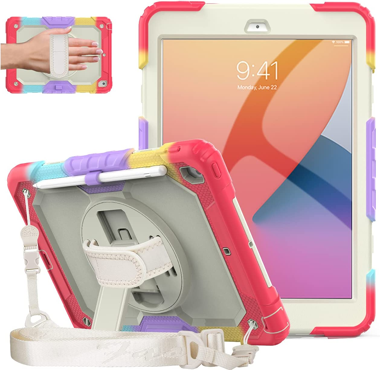 DUNNO iPad 8th 7th Generation Case(10.2 Inch, 2020/2019 Version), Heavy Shockproof iPad 10.2 Case with Screen Protector & 360° Rotating Kickstand & Shoulder Strap for iPad 10.2 Inch (Rainbow/Red)