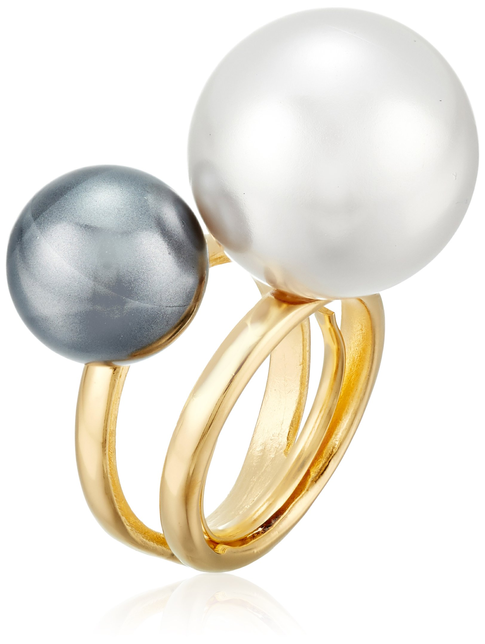 Kenneth Jay Lane Gold-Tone Band and Double Pearlescent Ball Adjustable Ring