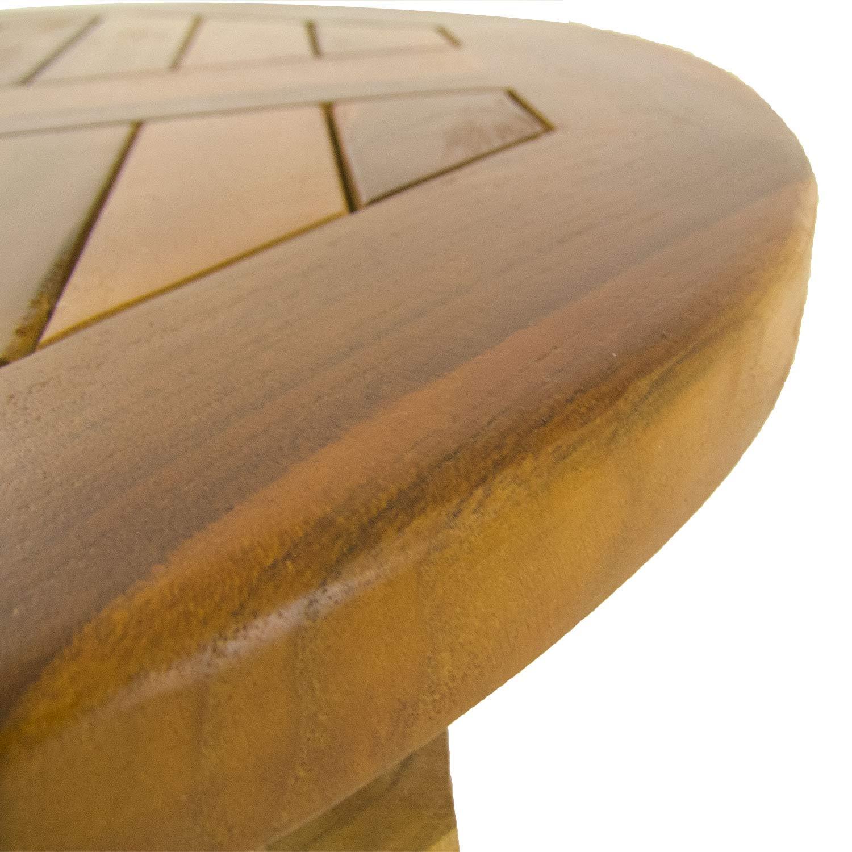 Mesa de Jardín Teca Redonda DE 80 cm | Madera Teca Grado A | Tamaño: 80x76 cm | Tratamiento al Agua aplicado | Portes Gratis: Amazon.es: Jardín