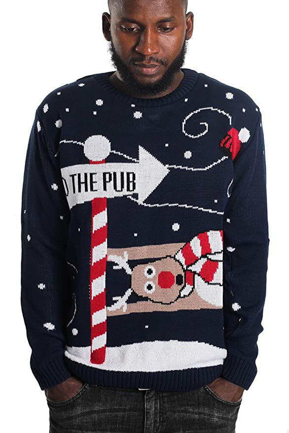 Momo&Ayat Fashions Mens to The Pub Christmas Jumper Size Small to XL at Amazon Mens Clothing store: