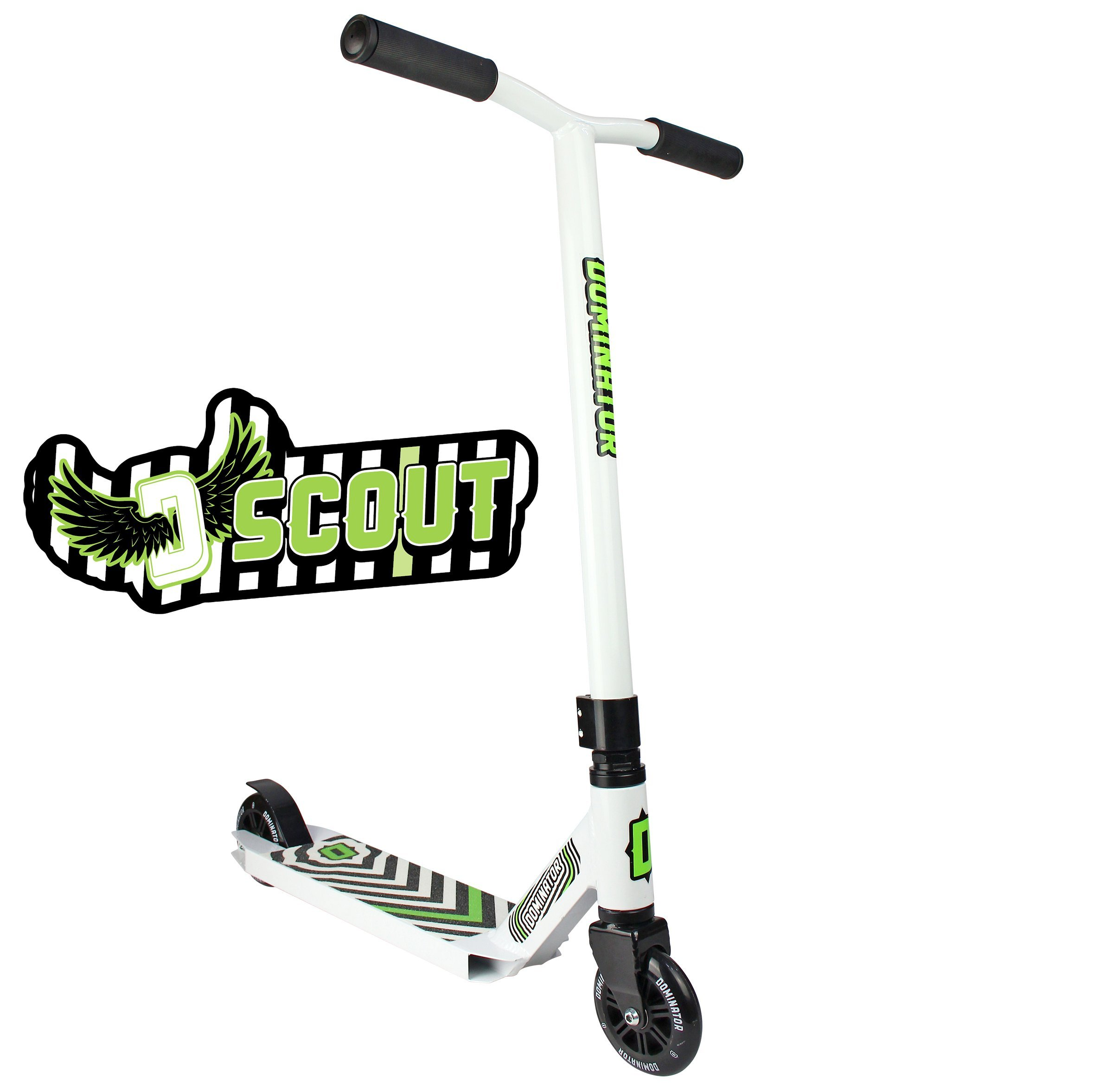 Dominator Scout Pro Scooter - Stunt Scooter - Trick Scooter (White/White)