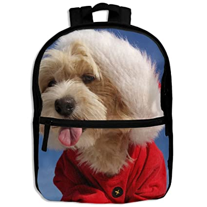fc1b80d02171 Image Unavailable. Image not available for. Color  Christmas Hat Tongue  Maltese Havanese Dogs Kids Backpack ...