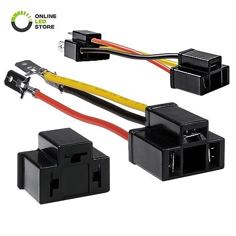 ONLINE LED STORE 2pc H4 (9003/HB2) Headlight Socket Converter Kit [for on