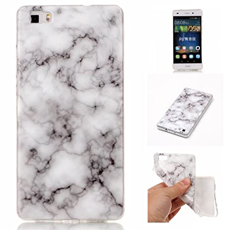 nuovo prodotto a7e73 c8cff COZY HUT Huawei P8 Lite Marble Case Cover, Soft Back Cover for Huawei P8  Lite,Marble Silicone Case for Huawei P8 Lite 5,0 inch - Smoke White marble