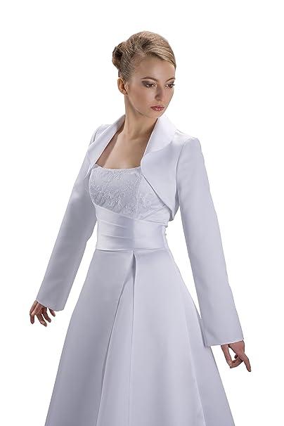 Nina Brautmoden Bolero Chaqueta Vestido de Boda Novia (Tallas S - 3 x l - Satén - E76 Beige 46: Amazon.es: Ropa y accesorios