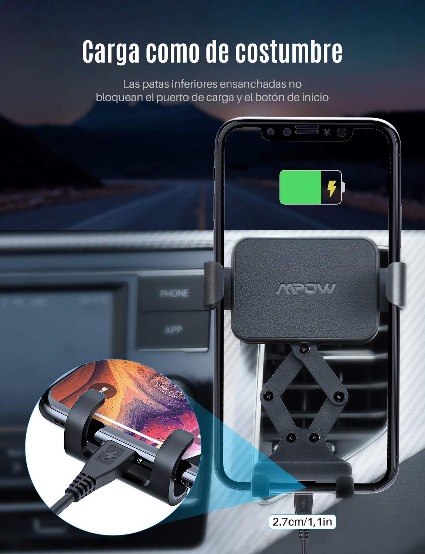 Soporte M/óvil para Rejilla del Aire Universal 360/° autom/ático Ajustable Gravedad Porta Movil para Coche para iPhone 11//XS Max//XS//Xr//X//8//7,Galaxy S10//9//8//7,Xiaomi Mpow Soporte M/óvil Coche Gravedad