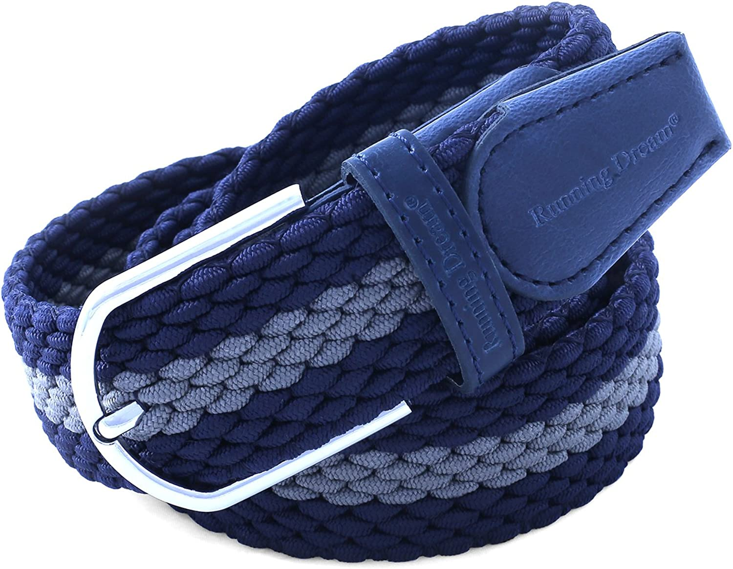Running Dream Elastic Stretch Belt for Man and Women Multi-Color Options M - Fits waist sizes 29-36, Blue+Gray