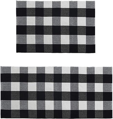 Kitchen Rugs Washable Mat Soft And Durable Ustide Buffalo Checkered Black White Plaid Rug Non Slip Retro Style Gingham Runner Farmhouse Decor Carpet Home