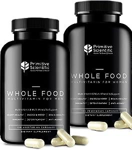 Primitive Scientific Whole Food Men & Women's Supplement for Holistic Health (Bundle) | Women's Multivitamins (120 Capsules) + Men's Multivitamins (120 Capsules) |Full-Spectrum, 100% Natural, Non-GMO